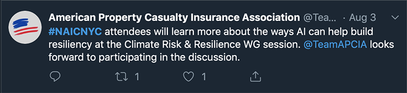 Tweet from American Property Casualty Insurance Association