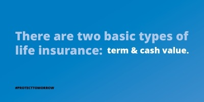 Two types of Insurance: Term and Cash Value
