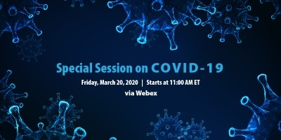 The NAIC will be holding a special sessions on COVID-19 via Webex on Friday, March 20th.