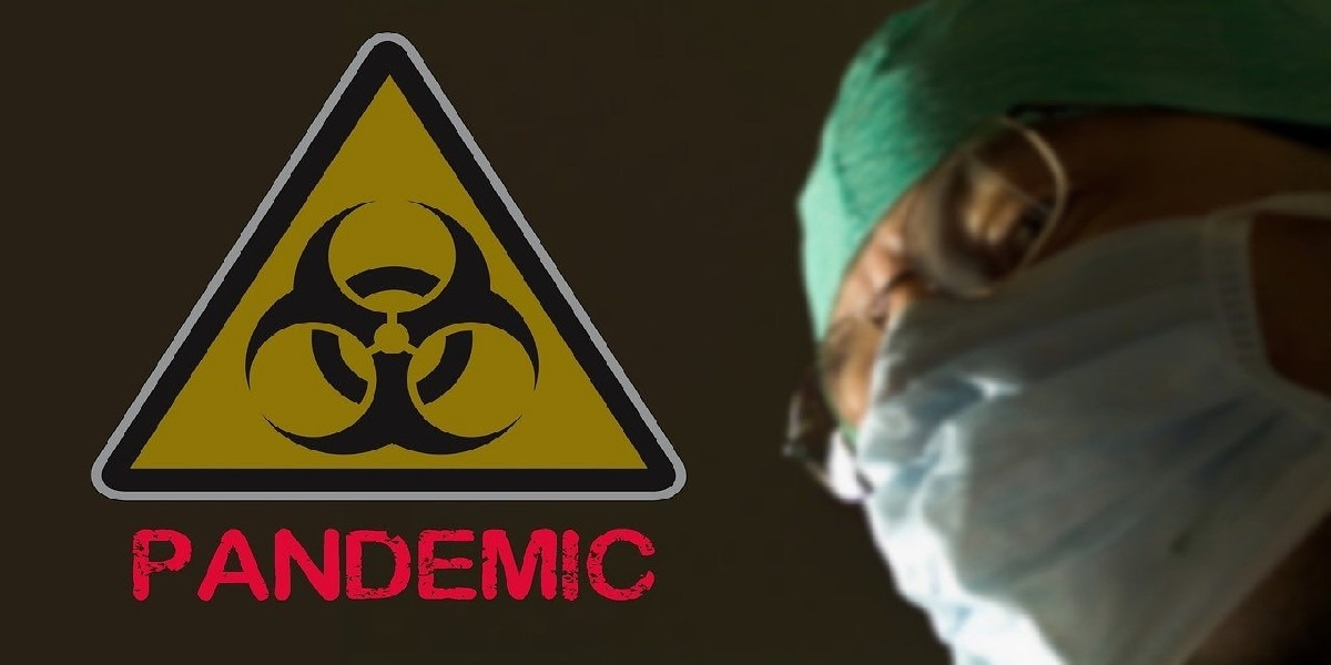 Pandemic warning sign and masked doctor