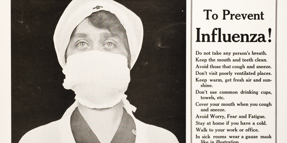 Nurse in mask and cap (1918) along with sidebar of information about preventing influenza